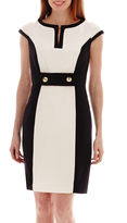 Studio 1 Cap-Sleeve Framed Colorblock Sheath Dress