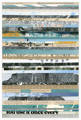 Jonathan Bass Studio Paper Strip Collage E, Decorative Framed Hand Embellished Canvas