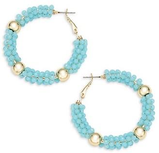 Ava & Aiden Bright Goldtone Crystal Bead Hoop Earrings