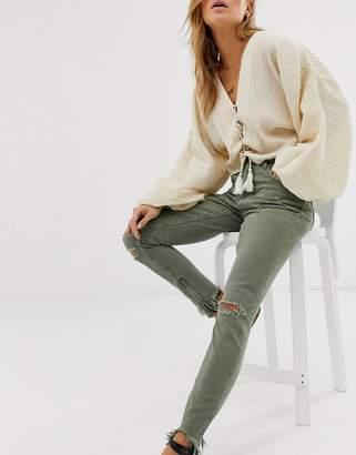 One Teaspoon Freebirds high rise chewed hem skinny jeans-Green