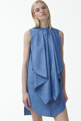 Cos Organic Cotton Ruffled Denim Dress