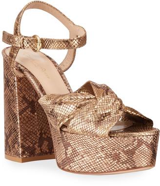 Gianvito Rossi Knotted Metallic Snake-Print Platform Sandals