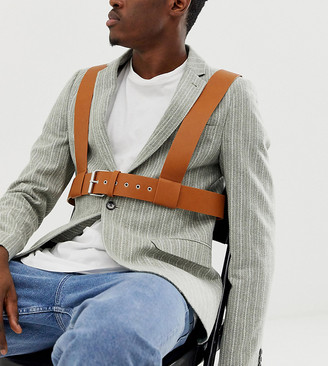 Asos Design DESIGN faux leather chest harness in tan-Brown