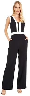 Vince Camuto Kors Crepe Color-Block Jumpsuit (Black/Khaki) Women's Jumpsuit & Rompers One Piece