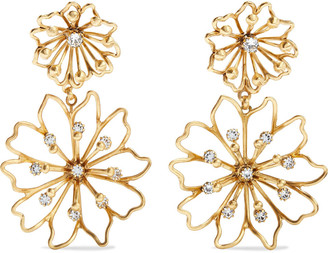 Elizabeth Cole Annabelle 24-karat Gold-plated Swarovski Crystal Earrings