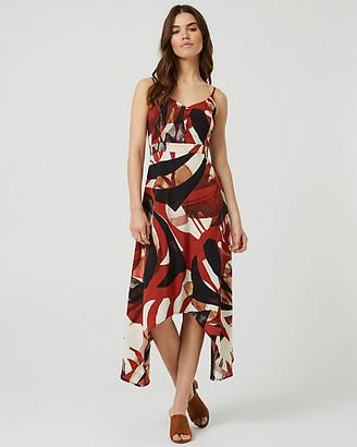 Le Château Abstract Print V-Neck Maxi Dress