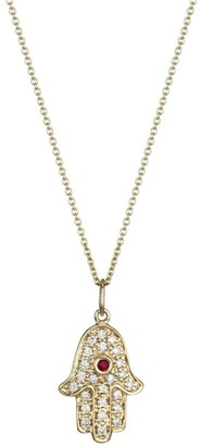 Sydney Evan 14K Yellow Gold, Diamond & Ruby Hamsa Charm Necklace