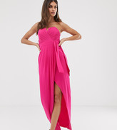 TFNC bandeau wrap midaxi dress with pleated detail in fuchsia