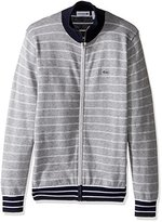 Lacoste Men's Long Sleeve Double Face Chine Stripe Zip Cardigan