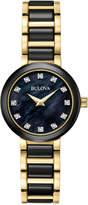 Bulova Women's Diamond Accent Black Ceramic and Gold-Tone Stainless Steel Bracelet Watch 30mm 98P159