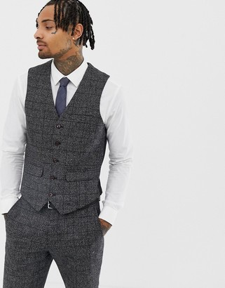 Harry Brown Textured Slim Fit Gray Check Suit vest