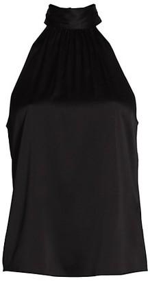 Frame Shirred Silk-Blend Halter Top