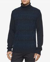 Calvin Klein Men's Colorblocked Multi-Textured Turtleneck Sweater