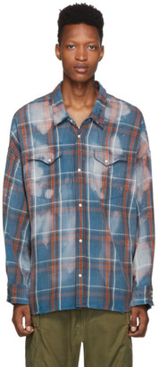 R 13 Blue Oversized Plaid Cowboy Shirt