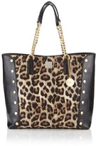 Faith Leopard Stud Chain Tote Bag