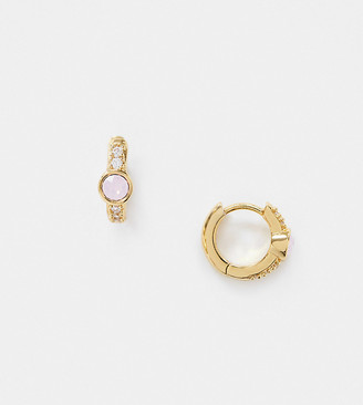 Orelia Exclusive gold plated pave huggie hoop with rose water opal stone