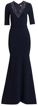 Theia V-Neck Beaded Crepe Gown