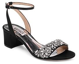 Black Satin Block Heel Shoes   Shop the