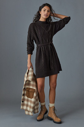 Leah Cable-Knit Sweater Dress By Amadi in Grey Size L