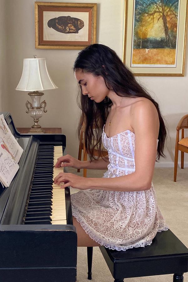 For Love & Lemons Jelena Lace Strapless Mini Dress