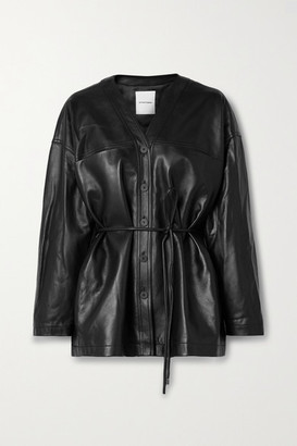 LE 17 SEPTEMBRE Belted Leather Jacket - Black