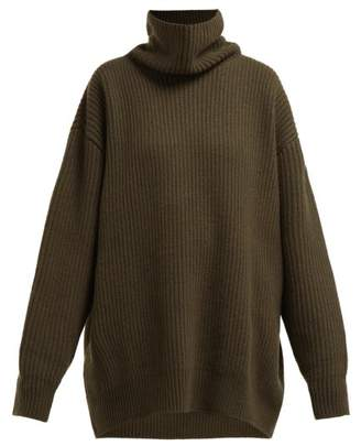 Raey Displaced-sleeve Roll-neck Wool Sweater - Womens - Khaki