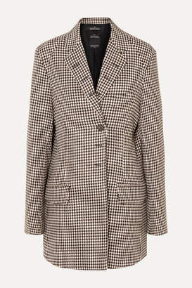 Rokh Oversized Houndstooth Tweed Blazer - Sand