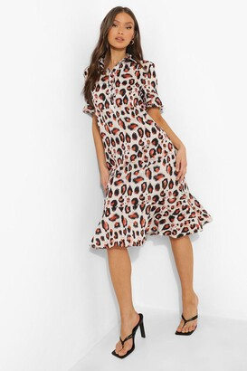 boohoo Animal Print Frill Hem Midi Shift Dress