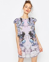 Asos Floral Ruffle Mini Shift Dress