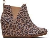Toms Leopard Suede Kelsey Women's Wedge Booties