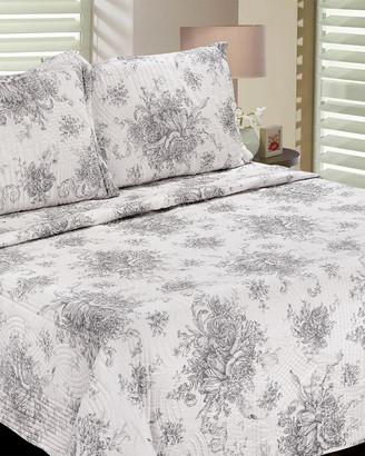 Melange Home Toile Cotton Quilt Set