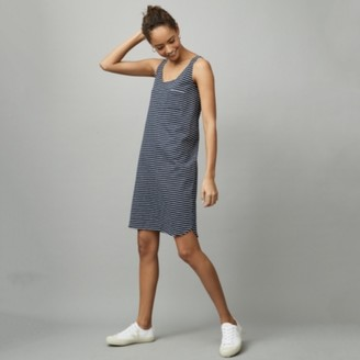 The White Company Organic Cotton Stripe Swing Jersey Tank Dress, White Navy, 6