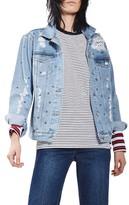 Topshop Petite Women's Studded Distressed Denim Jacket
