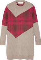 Thakoon Addition tartan-paneled knitted sweater
