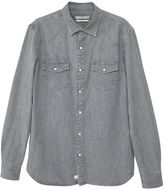 MANGO Men's Slim-fit grey denim shirt