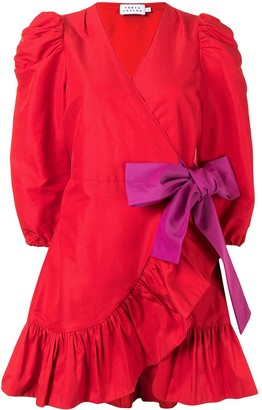 Tanya Taylor Bow-Detail Puff-Sleeve Mini Dress