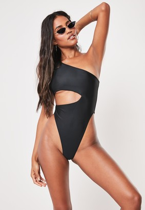 Missguided Petite Black One Shoulder Cut Out High Leg Swimsuit