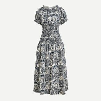 J.Crew Smocked cotton poplin dress in Ratti midnight paisley