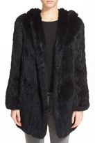 Theory Ineven Blithe Hooded Genuine Rabbit Fur Jacket