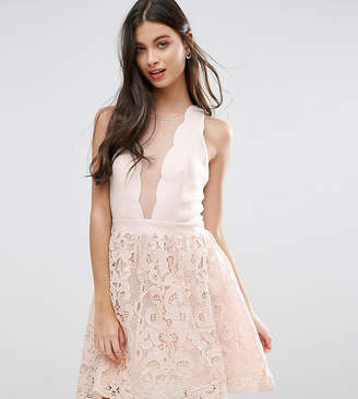 Little Mistress Petite Scallop Skater Dress With Crochet Lace Skirt-Cream