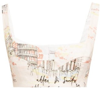 Emilia Wickstead Ania Italy-print Cropped Top - Womens - Pink Print