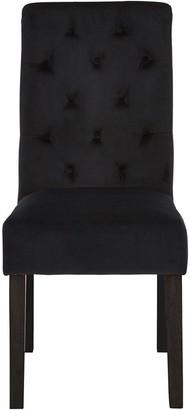 Pair Of Velvet Scroll Back Dining Chairs - Black