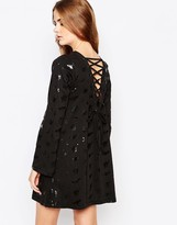 Worn By Halloween Witches Dress With Flared Sleeve & Lace Up Back