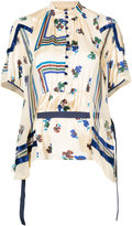Sacai floral striped belted top - women - Polyester - 2