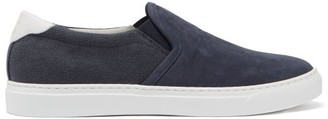 Brunello Cucinelli Slip-on Canvas And Suede Trainers - Blue