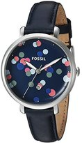 Fossil Women's Quartz Stainless Steel and Leather Casual Watch, Color:Blue (Model: ES4103)