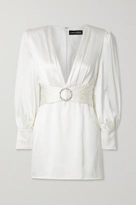 retrofete Nicole Crystal-embellished Stretch-silk Satin Mini Dress - Off-white