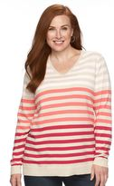Croft & Barrow Plus Size Essential Striped V-Neck Sweater