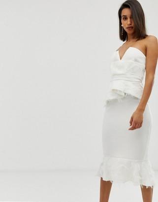 Asos Design DESIGN PREMIUM faux feather detail peplum midi dress-White