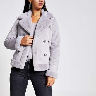River Island Womens Grey faux suede shearling fallaway jacket